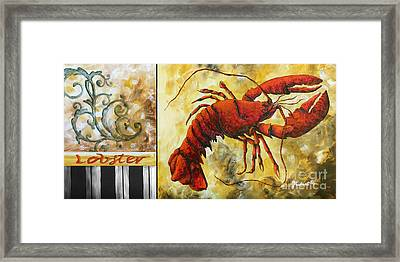 Coastal Lobster Decorative Painting Original Art Coastal Luxe Lobster By Madart Framed Print by Megan Duncanson