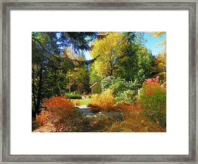 Framed Print featuring the photograph Coastal Maine Garden by Gene Cyr