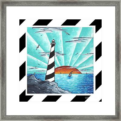 Coastal Nautical Decorative Art Original Painting Stripes Light House Seeking The Light By Madart Framed Print by Megan Duncanson