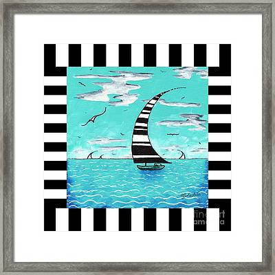 Coastal Nautical Decorative Art Original Painting With Stripes Refreshing By Madart Framed Print by Megan Duncanson