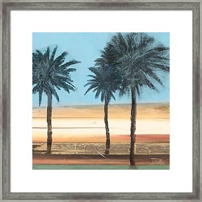 Coastal Palms On Aqua Framed Print