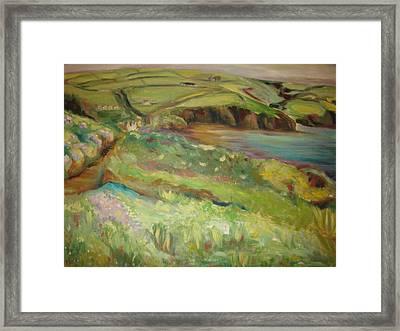 Coastal Path In Wales Framed Print by Ellen Howell