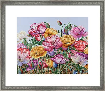 Framed Print featuring the painting Coastal Poppies by Jane Girardot