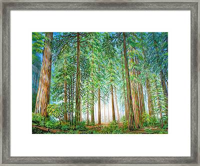 Framed Print featuring the painting Coastal Redwoods by Jane Girardot