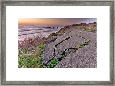 Coastal Road Erosion Framed Print by Bob Gibbons