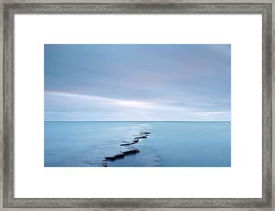 Coastal Rock Ledge At High Tide Framed Print