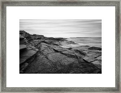 Coastal Rocks Black And White Framed Print