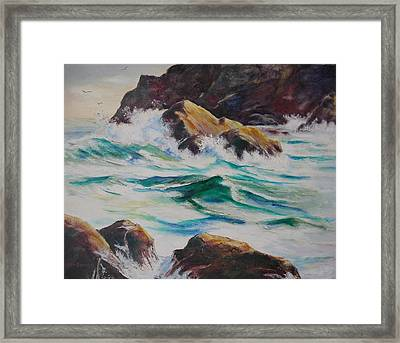 Coastal Rocks Framed Print by John  Svenson