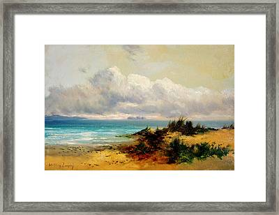Coastal Scene With Sand Dune Framed Print by Celestial Images