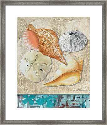 Coastal Sea Shell Painting Original Art At The Beach By Megan Duncanson Framed Print