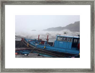Coastal Storm Surge During Typhoon Usagi Framed Print by Jim Edds