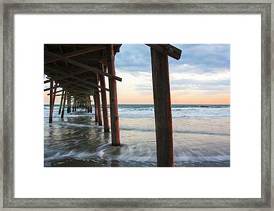 Coastal Sunset At Oceanana Fishing Pier Framed Print