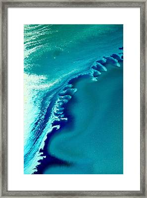 Coastal Surf Blue Abstract Waves By Kredart Framed Print by Serg Wiaderny