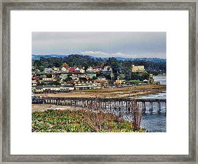 California Coastal Town Framed Print by Kathy Churchman