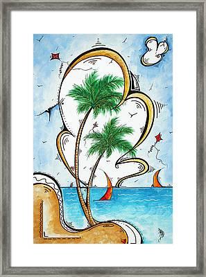 Coastal Tropical Art Contemporary Sailboat Kite Painting Whimsical Design Summer Daze By Madart Framed Print by Megan Duncanson