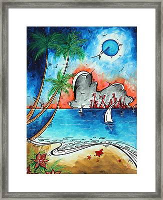 Coastal Tropical Beach Art Contemporary Painting Whimsical Design Tropical Vacation By Madart Framed Print