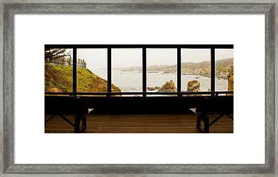 Coastal Viewed From A Shed At Mendocino Framed Print