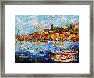 Coastal Village And Boats Italy Framed Print