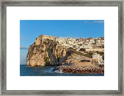Coastal Village Of Peschici Framed Print by Peter Adams