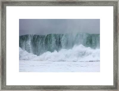 Coastal Wave During Typhoon Usagi Framed Print by Jim Edds