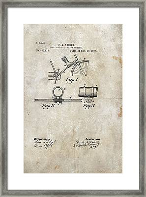 Coasting Foot Rest For Bicycles Patent 1897 Framed Print by Paulette B Wright