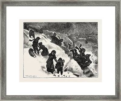 Coasting Or Tobogganing At Omaha Framed Print by English School