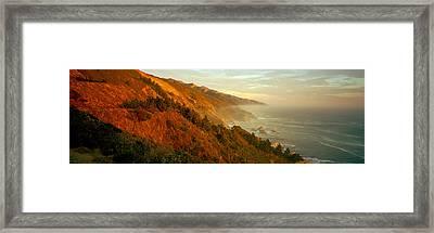 Coastline At Dusk, Big Sur, California Framed Print
