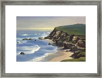 Coastline Half Moon Bay Framed Print by Terry Guyer