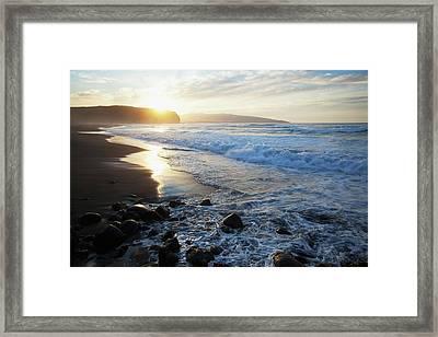 Coastline Of An Island In Portugal Framed Print by Carl Bruemmer