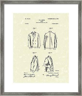Coat 1903 Patent Art Framed Print