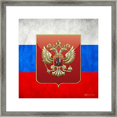 Coat Of Arms And Flag Of Russia Framed Print by Serge Averbukh