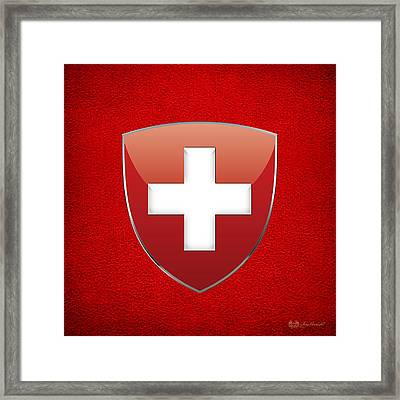 Coat Of Arms And Flag Of Switzerland Framed Print by Serge Averbukh