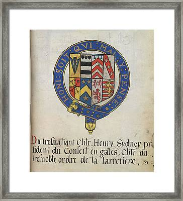 Coat Of Arms Of Sir Henry Sydney Framed Print