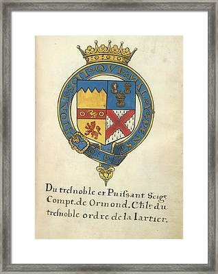 Coat Of Arms Of Thomas Butler Framed Print by British Library