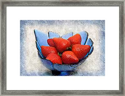 Cobalt Blue Berry Boat Framed Print by Andee Design