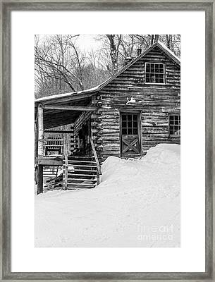Slayton Pasture Cobber Cabin Trapp Family Lodge Stowe Vermont Framed Print by Edward Fielding