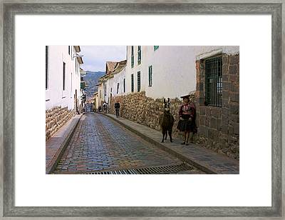 Cobble Stone Lane Framed Print by Linda Phelps
