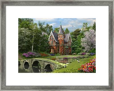Cobbled Bridge Cottage Framed Print by Dominic Davison