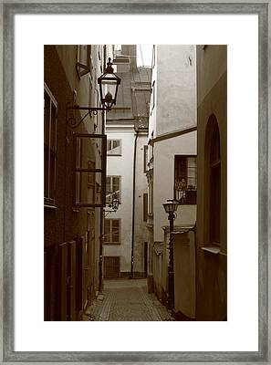 Cobbled Medieval Street - Monochrome Framed Print by Ulrich Kunst And Bettina Scheidulin