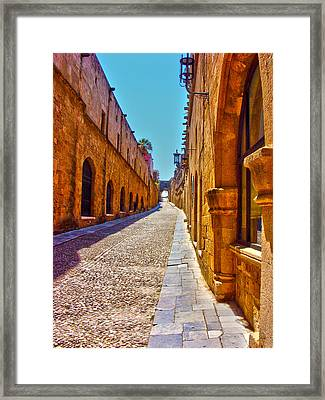 Rhodes Cobbled Street Framed Print by Scott Carruthers