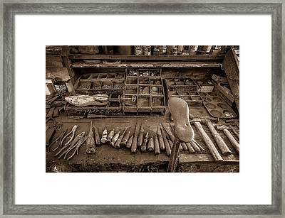 Cobblers Tools Bw Framed Print