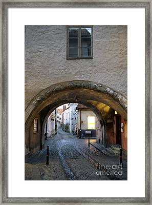 Cobblestone And Arcade Framed Print by Ladi  Kirn