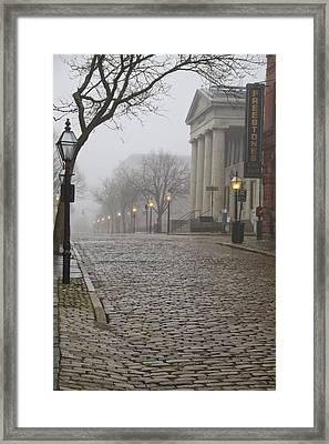 Cobblestone Street In Fog Framed Print