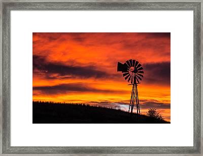 Cobblestone Windmill At Sunset Framed Print
