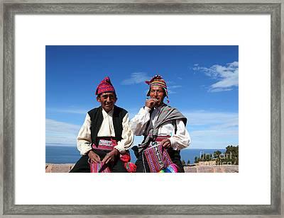 Coca Break On Taquile Island Peru Framed Print by James Brunker