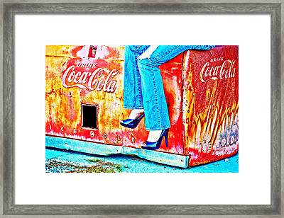 Coca-cola And Stiletto Heels Framed Print