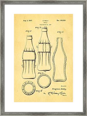 Coca Cola Bottle Patent Art 1937 Framed Print by Ian Monk