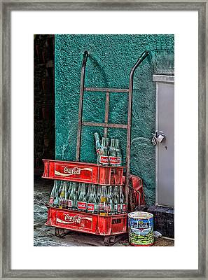 Coca Cola Cart And Bottles 1 Framed Print by Linda Phelps