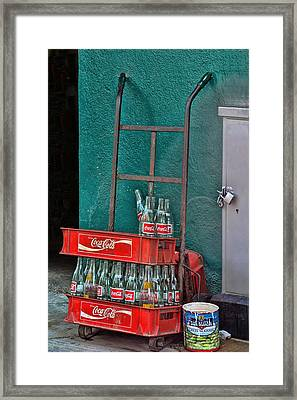 Coca Cola Cart And Bottles Framed Print by Linda Phelps