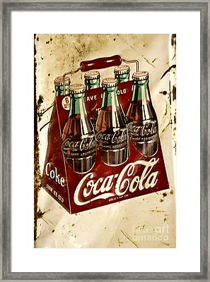 Coca Cola Rusty Old Sign Framed Print by JW Hanley